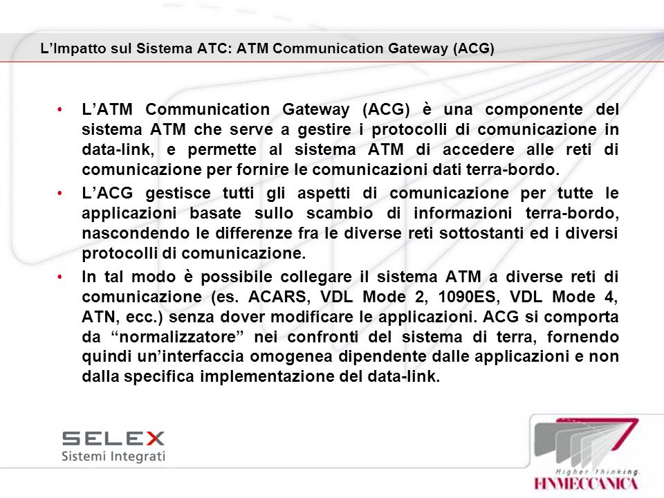 L'Impatto sul Sistema ATC: ATM Communication Gateway (ACG)