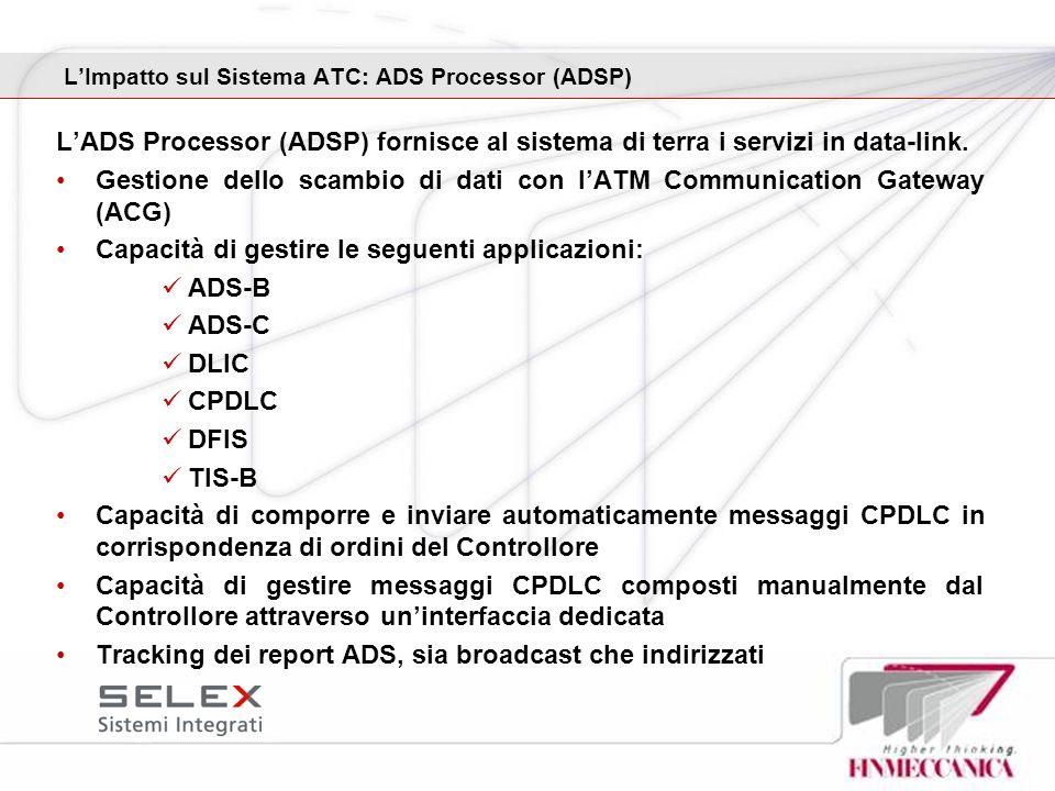 L'Impatto sul Sistema ATC: ADS Processor (ADSP)