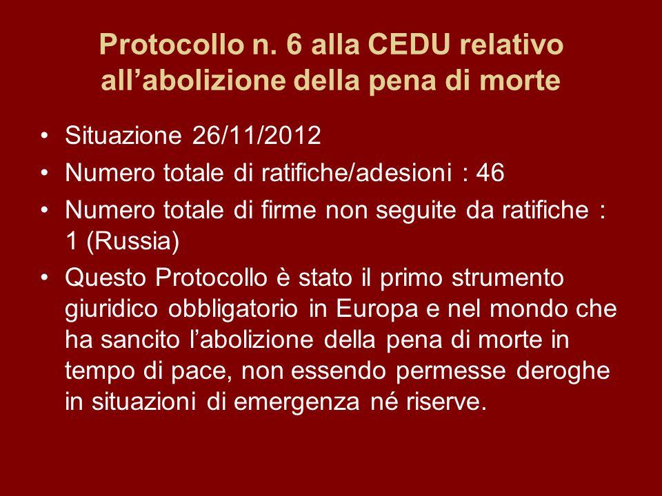 Protocollo n. 6 alla CEDU relativo all'abolizione della pena di morte