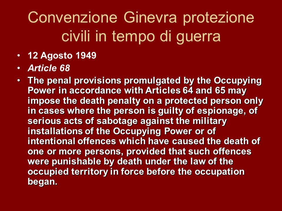 Convenzione Ginevra protezione civili in tempo di guerra