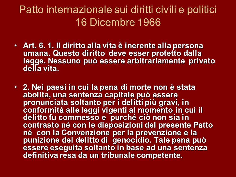 Patto internazionale sui diritti civili e politici 16 Dicembre 1966