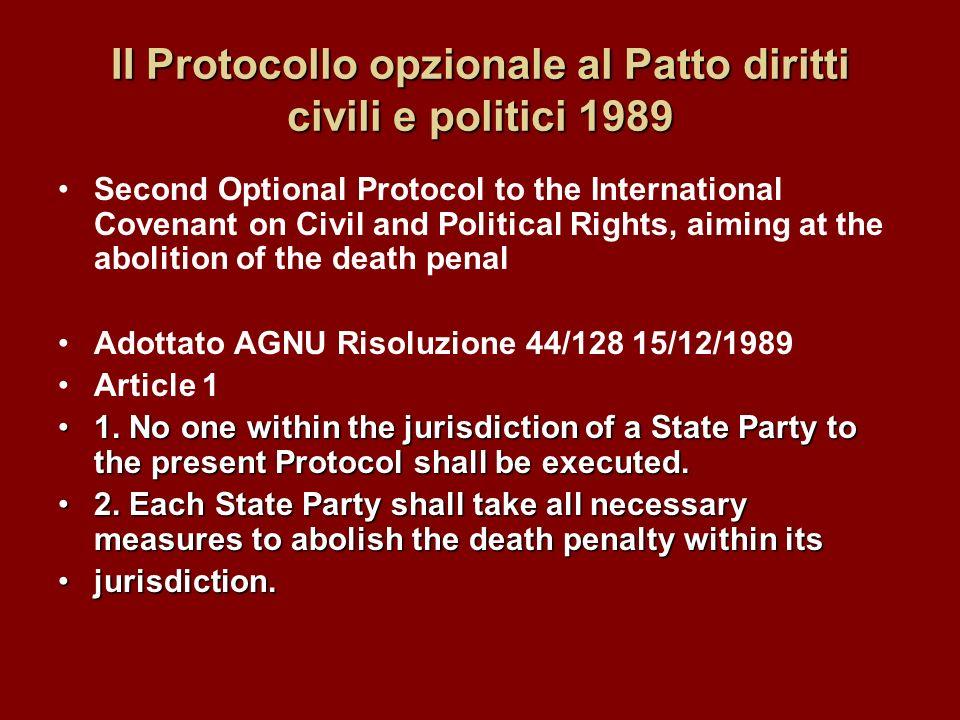 II Protocollo opzionale al Patto diritti civili e politici 1989