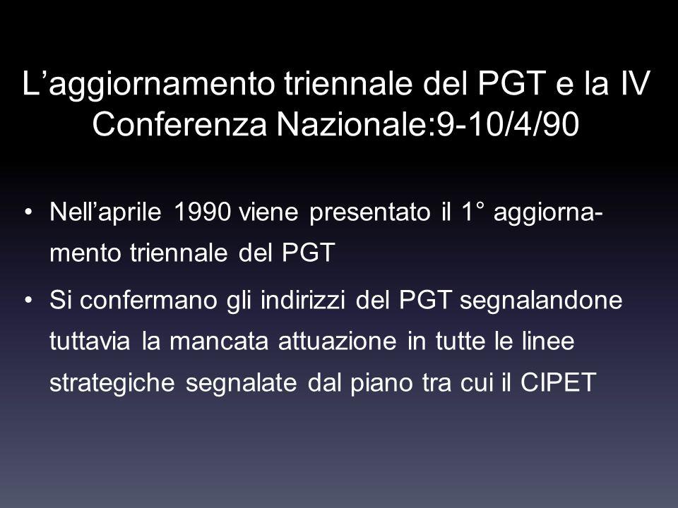 L'aggiornamento triennale del PGT e la IV Conferenza Nazionale:9-10/4/90