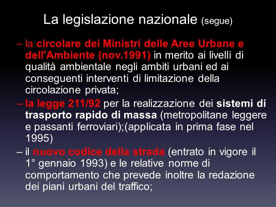 La legislazione nazionale (segue)
