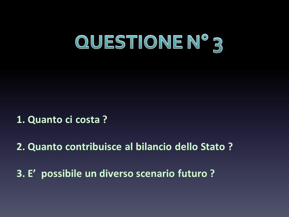 QUESTIONE N° 3 1. Quanto ci costa . 2. Quanto contribuisce al bilancio dello Stato .