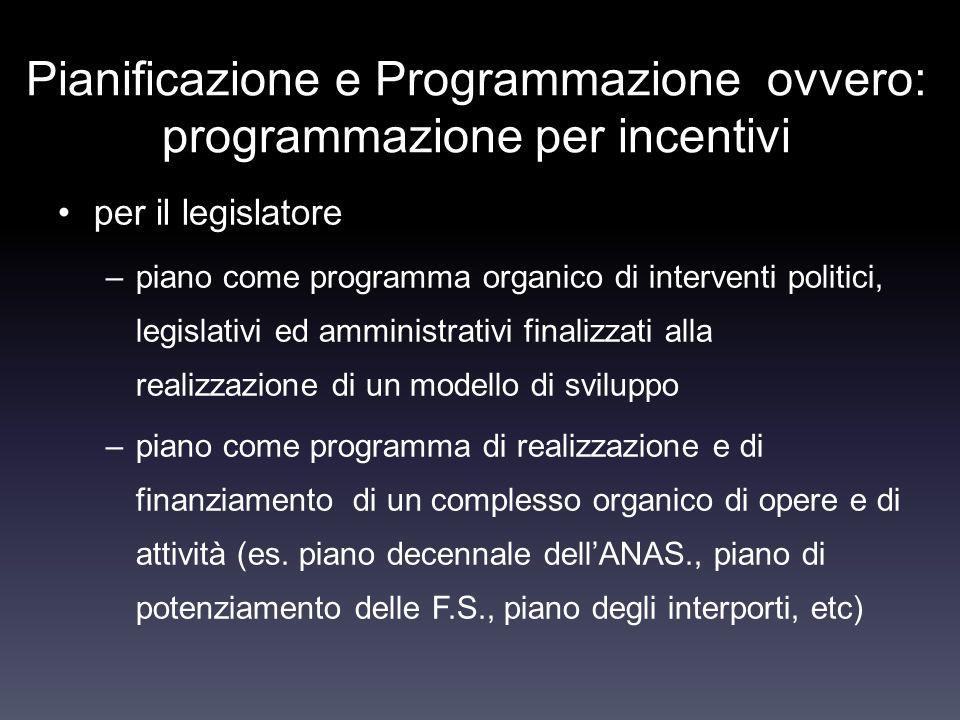 Pianificazione e Programmazione ovvero: programmazione per incentivi