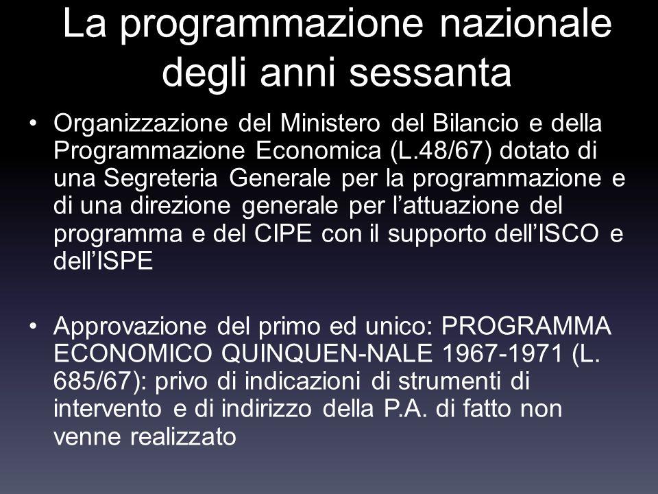 La programmazione nazionale degli anni sessanta