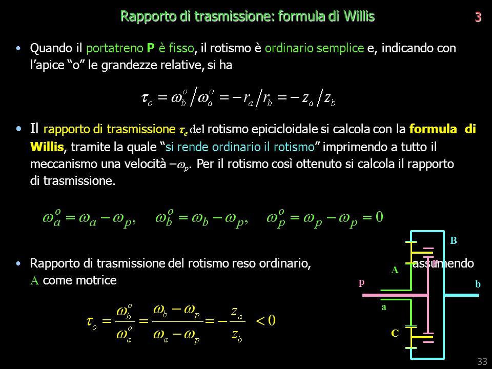 Rapporto di trasmissione: formula di Willis