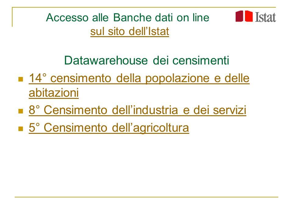 Accesso alle Banche dati on line sul sito dell'Istat
