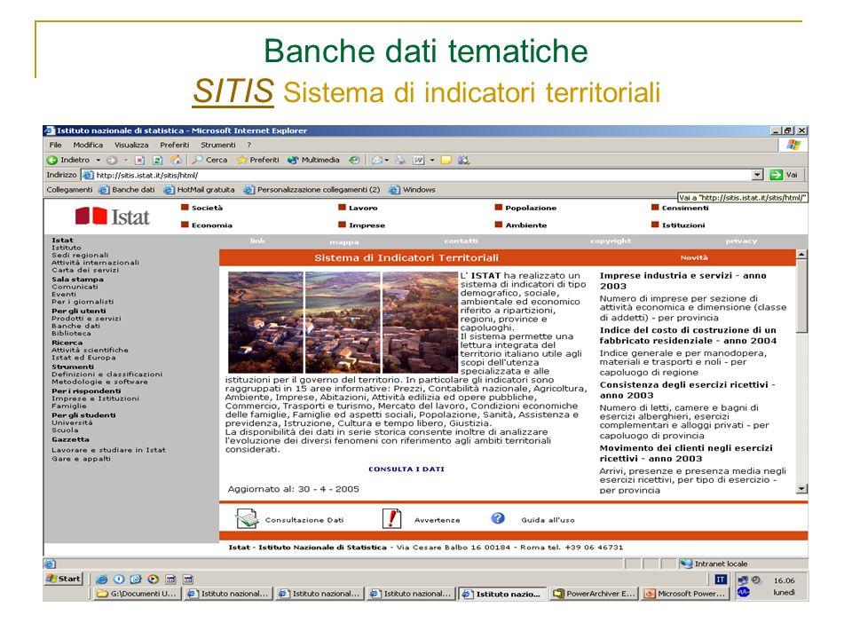 Banche dati tematiche SITIS Sistema di indicatori territoriali