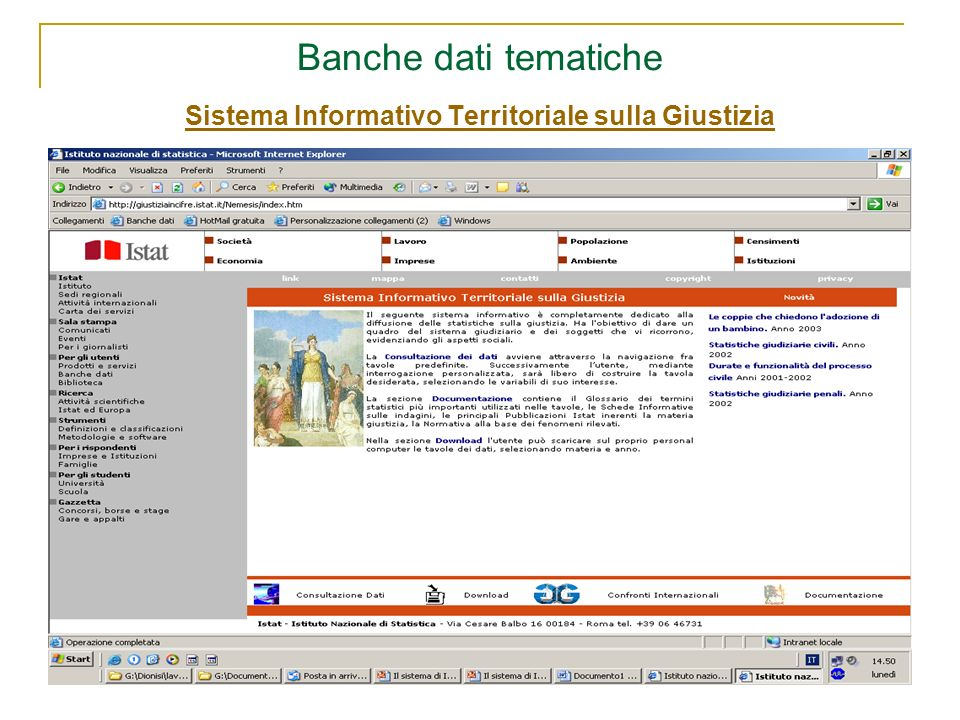 Banche dati tematiche Sistema Informativo Territoriale sulla Giustizia