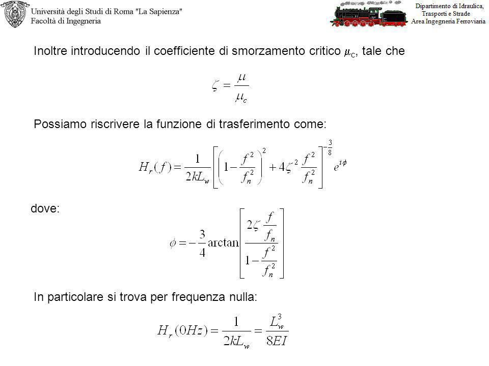 Inoltre introducendo il coefficiente di smorzamento critico mc, tale che
