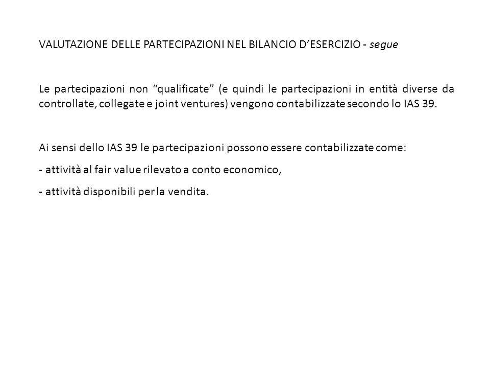 VALUTAZIONE DELLE PARTECIPAZIONI NEL BILANCIO D'ESERCIZIO - segue
