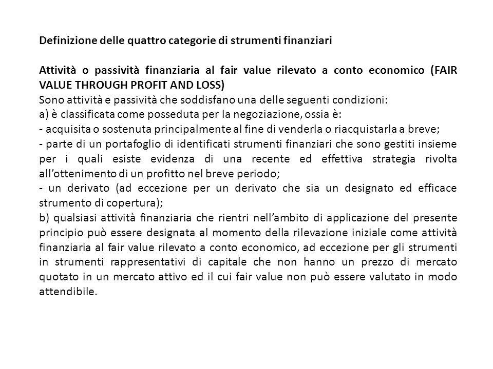 Definizione delle quattro categorie di strumenti finanziari