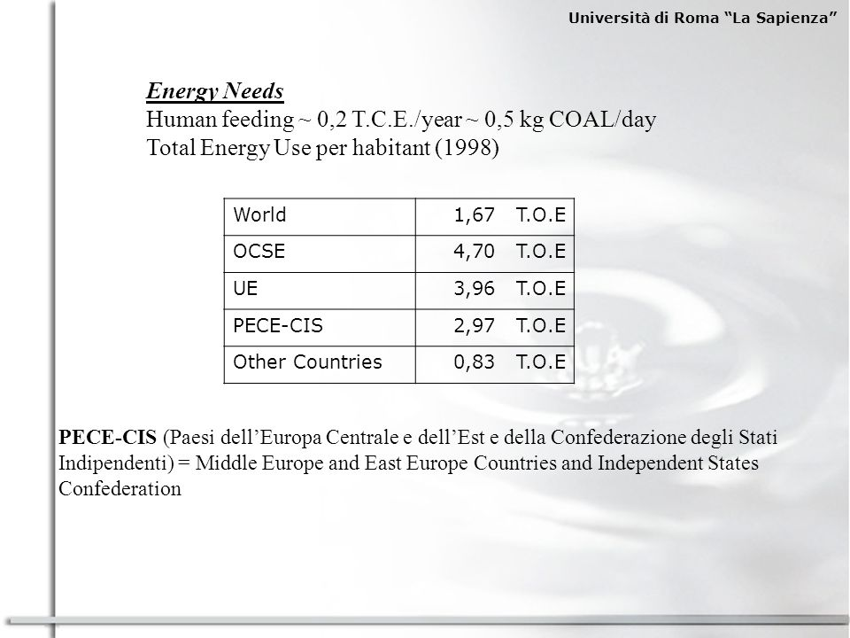 Human feeding ~ 0,2 T.C.E./year ~ 0,5 kg COAL/day