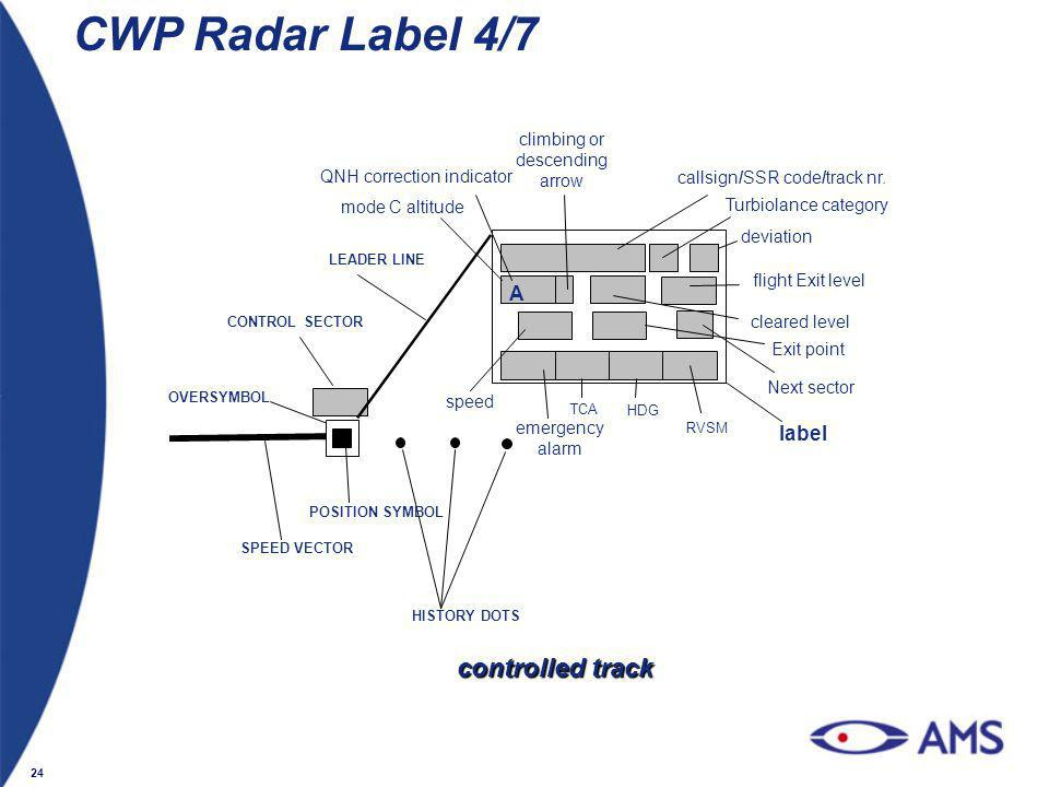 CWP Radar Label 4/7 controlled track A label