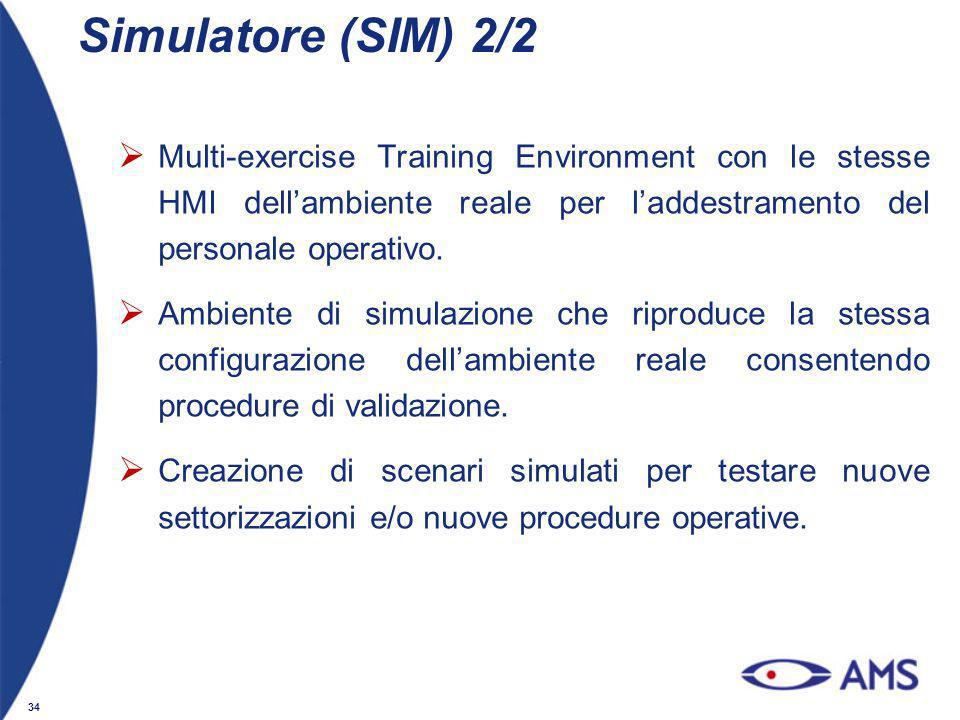 Simulatore (SIM) 2/2 Multi-exercise Training Environment con le stesse HMI dell'ambiente reale per l'addestramento del personale operativo.