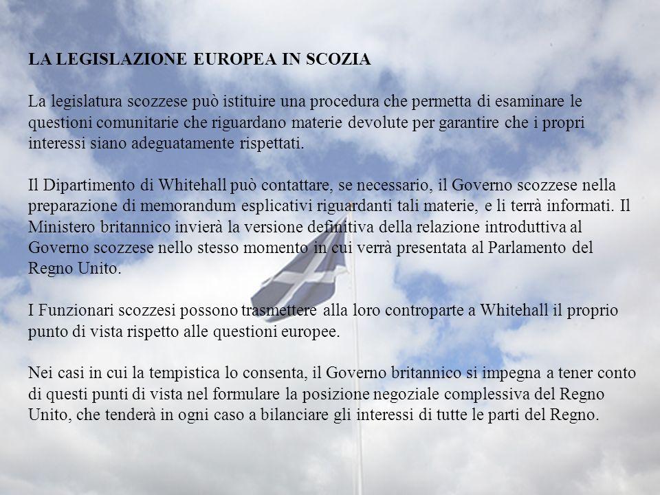 LA LEGISLAZIONE EUROPEA IN SCOZIA