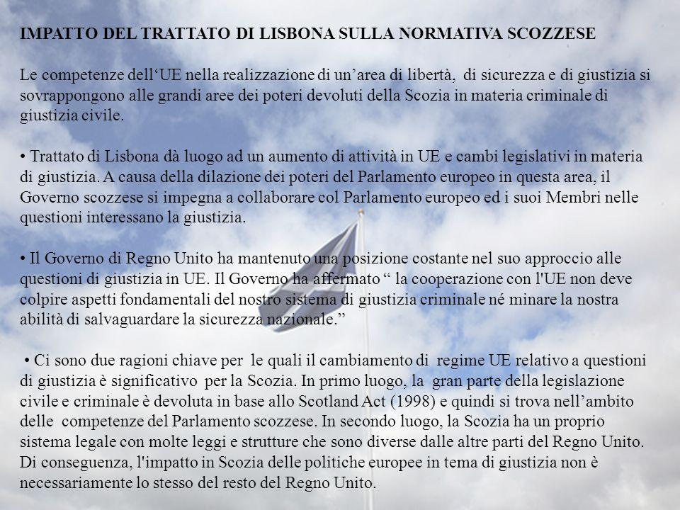 IMPATTO DEL TRATTATO DI LISBONA SULLA NORMATIVA SCOZZESE