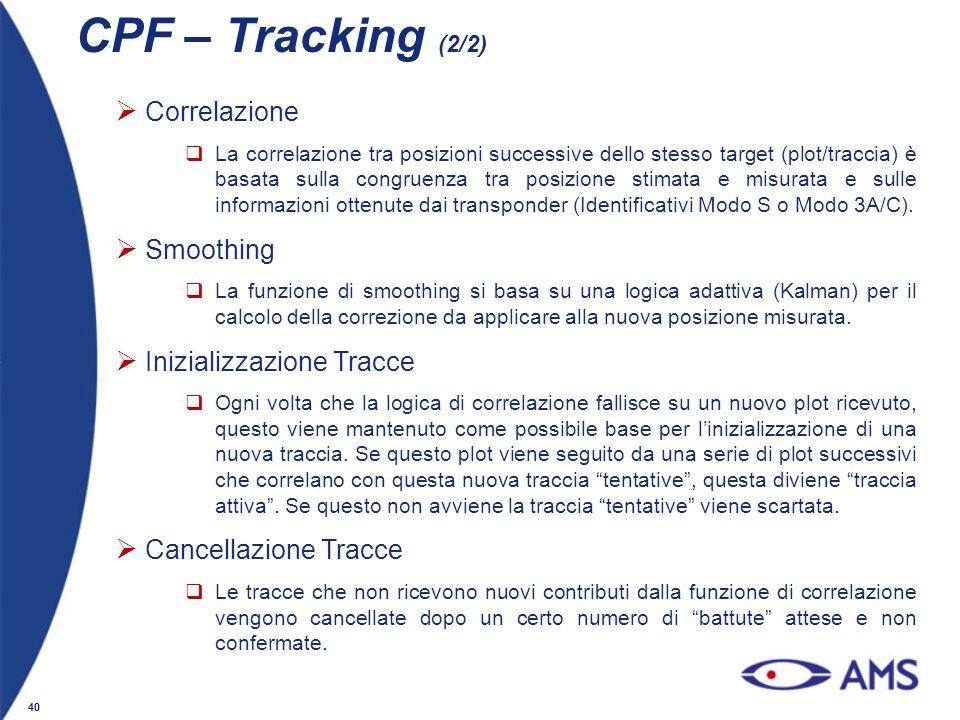 CPF – Tracking (2/2) Correlazione Smoothing Inizializzazione Tracce