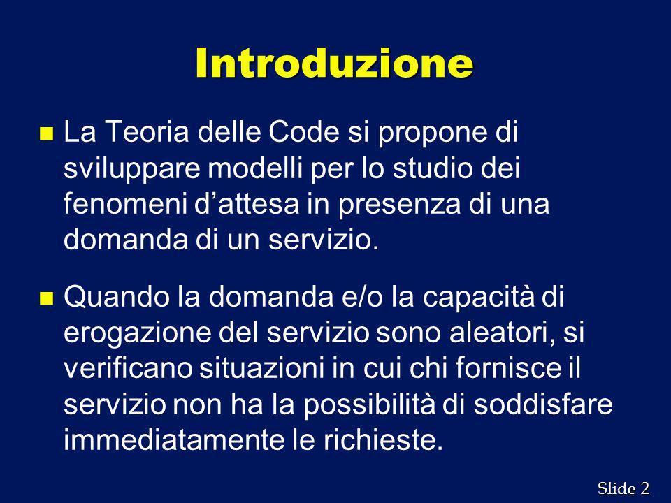 Introduzione La Teoria delle Code si propone di sviluppare modelli per lo studio dei fenomeni d'attesa in presenza di una domanda di un servizio.