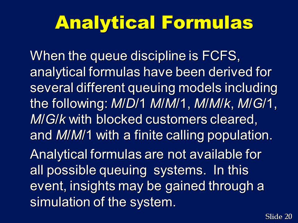 Analytical Formulas