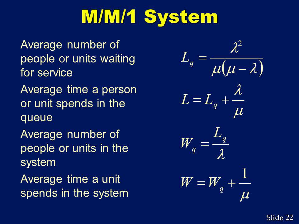 M/M/1 System Average number of people or units waiting for service