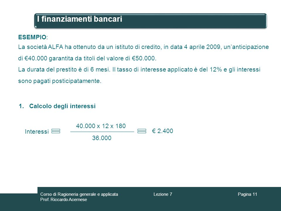 I finanziamenti bancari