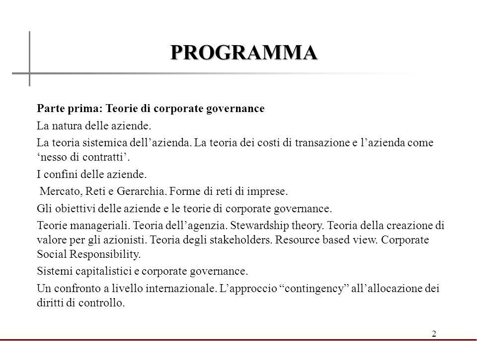 PROGRAMMA Parte prima: Teorie di corporate governance