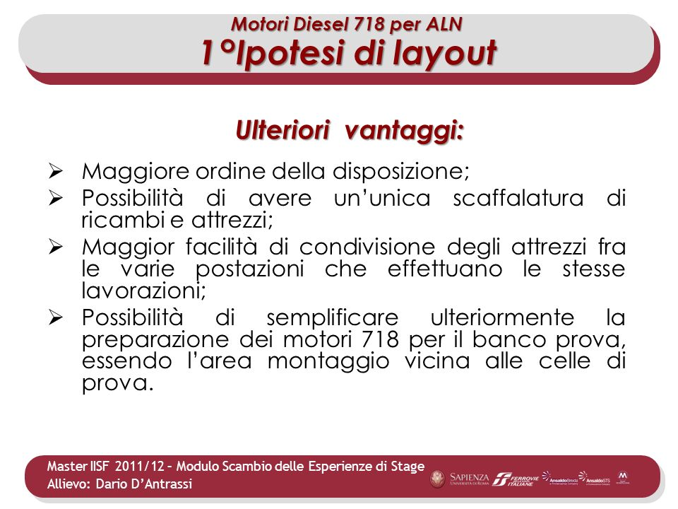 1°Ipotesi di layout Ulteriori vantaggi: