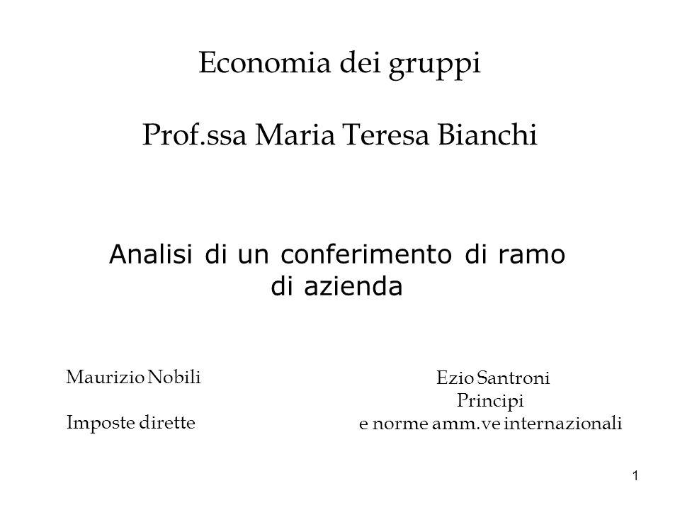 Economia dei gruppi Prof.ssa Maria Teresa Bianchi
