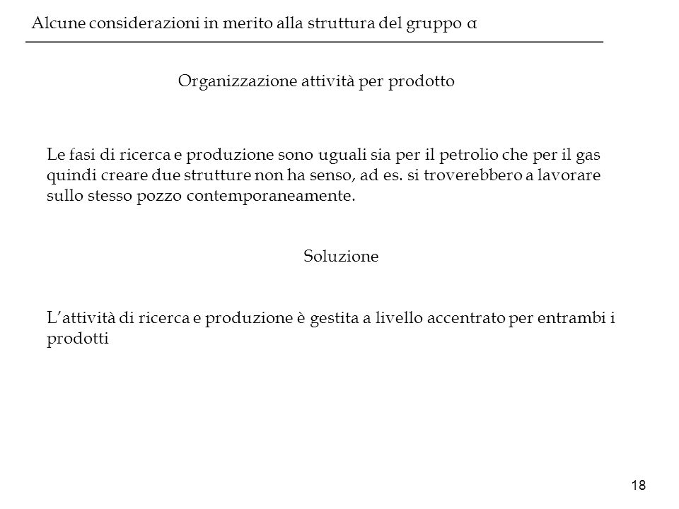 Organizzazione attività per prodotto