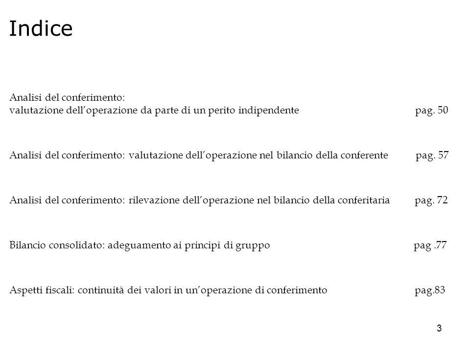 Indice Analisi del conferimento: valutazione dell'operazione da parte di un perito indipendente pag. 50.