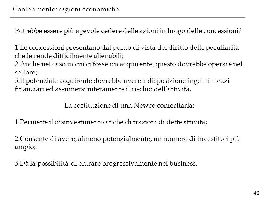 La costituzione di una Newco conferitaria: