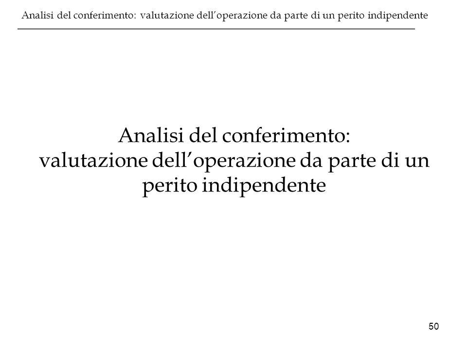 Analisi del conferimento: valutazione dell'operazione da parte di un perito indipendente