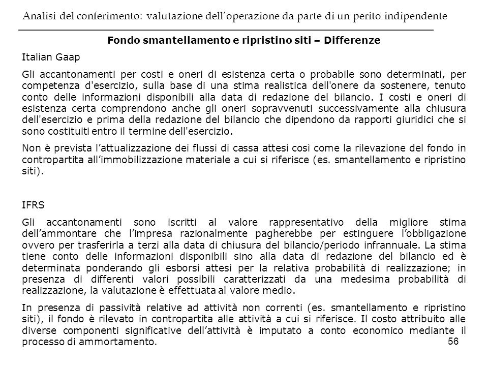 Fondo smantellamento e ripristino siti – Differenze