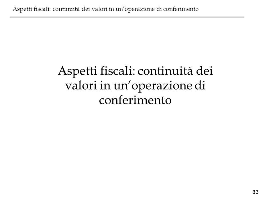 Aspetti fiscali: continuità dei valori in un'operazione di conferimento