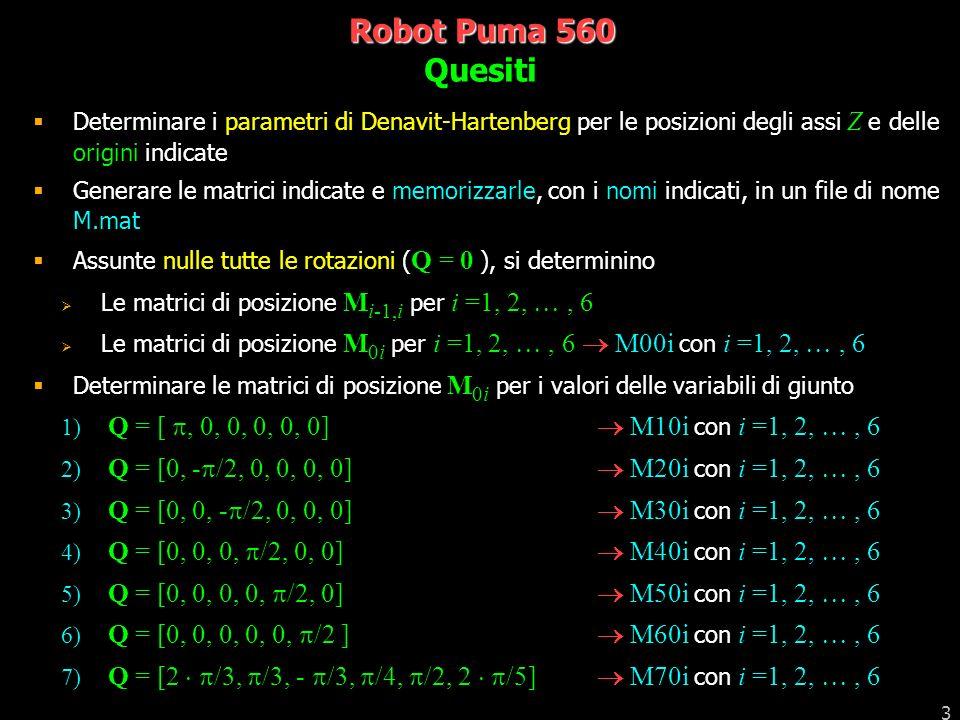 Robot Puma 560 Quesiti. Determinare i parametri di Denavit-Hartenberg per le posizioni degli assi Z e delle origini indicate.
