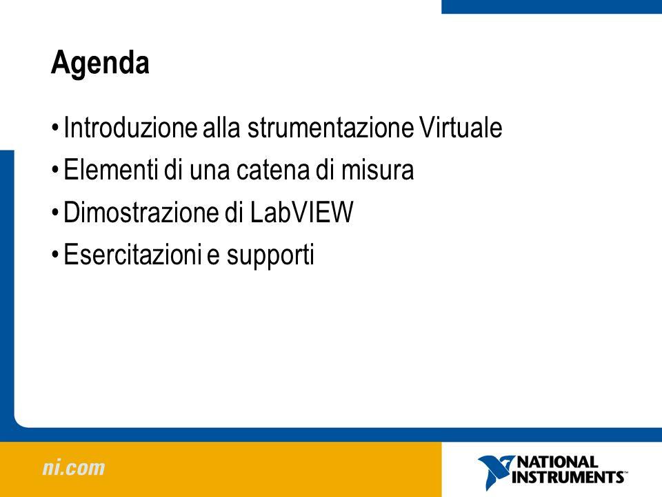 Agenda Introduzione alla strumentazione Virtuale