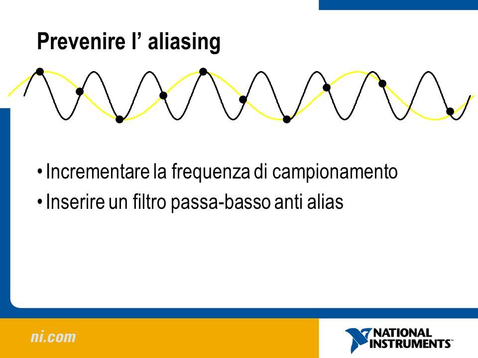Prevenire l' aliasing Incrementare la frequenza di campionamento