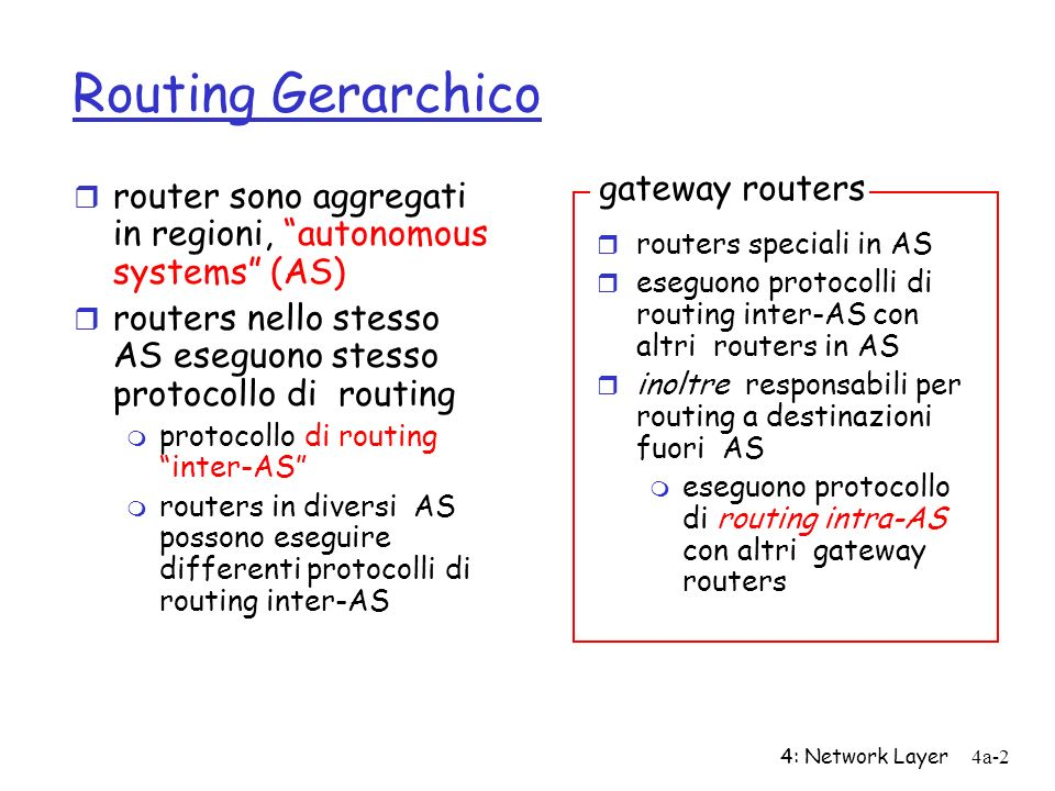 Routing Gerarchico gateway routers