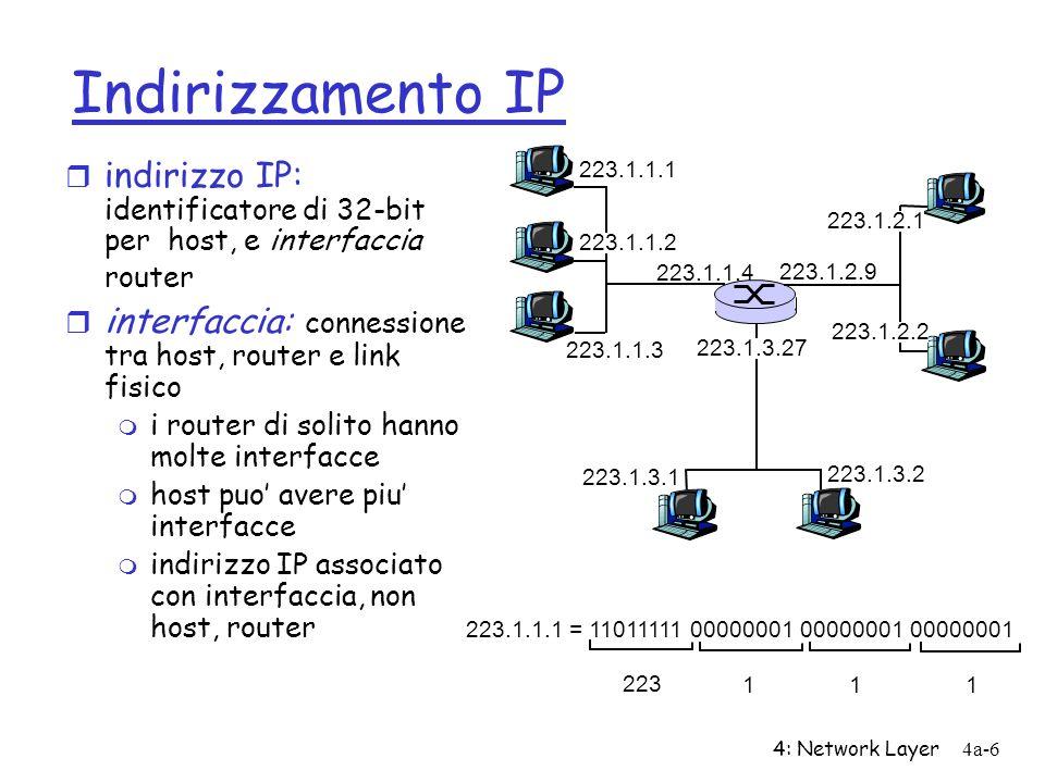 Indirizzamento IP indirizzo IP: identificatore di 32-bit per host, e interfaccia router. interfaccia: connessione tra host, router e link fisico.