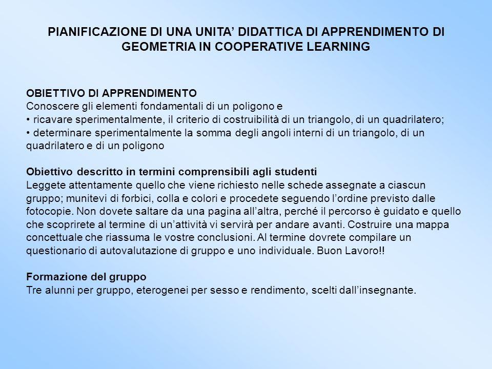 PIANIFICAZIONE DI UNA UNITA' DIDATTICA DI APPRENDIMENTO DI GEOMETRIA IN COOPERATIVE LEARNING