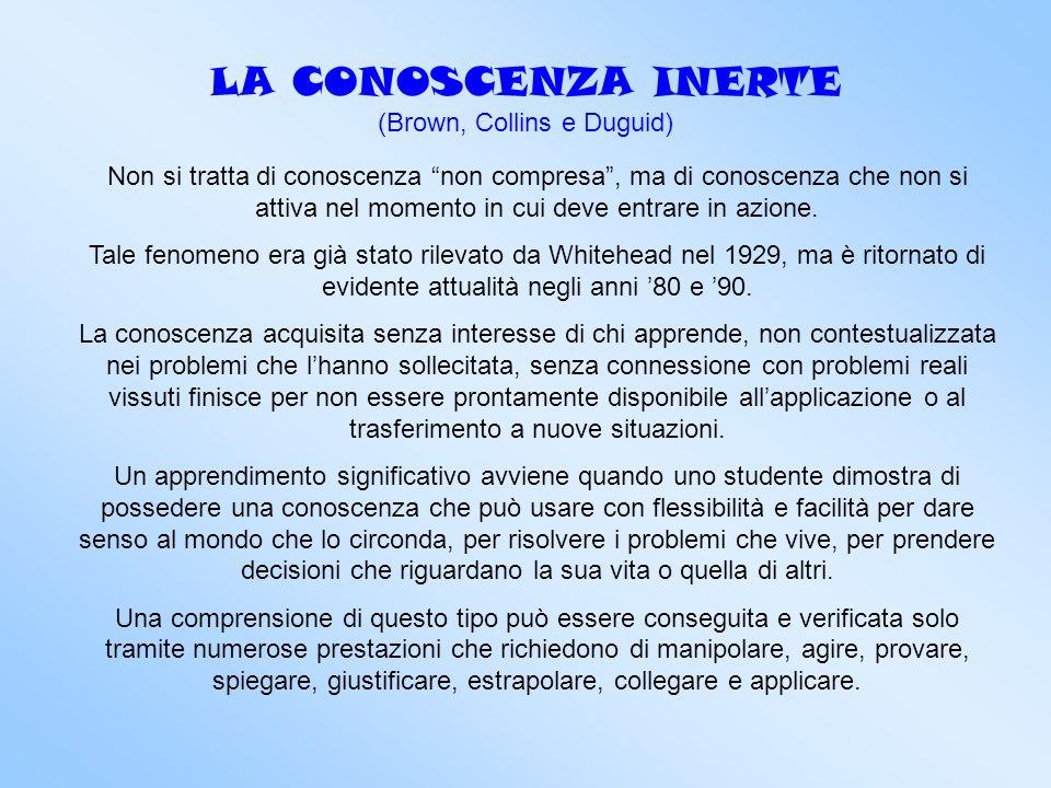 LA CONOSCENZA INERTE (Brown, Collins e Duguid)