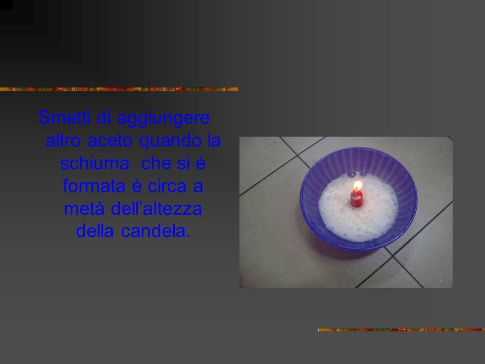 Smetti di aggiungere altro aceto quando la schiuma che si è formata è circa a metà dell'altezza della candela.