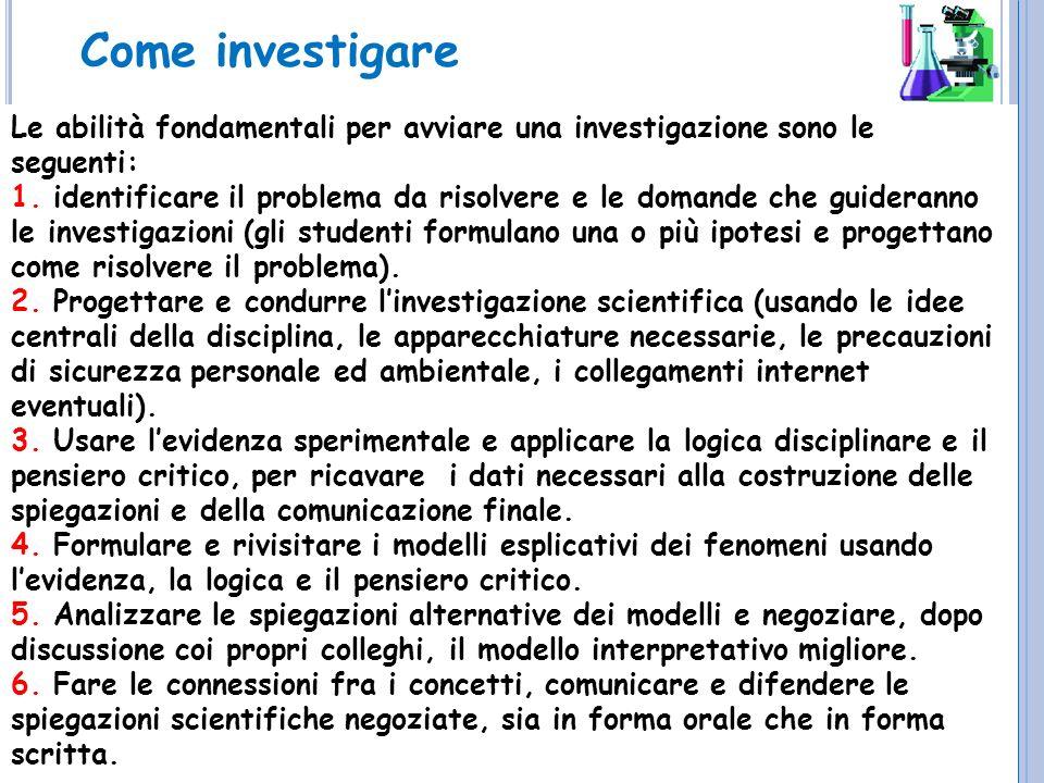 Come investigare Le abilità fondamentali per avviare una investigazione sono le seguenti: