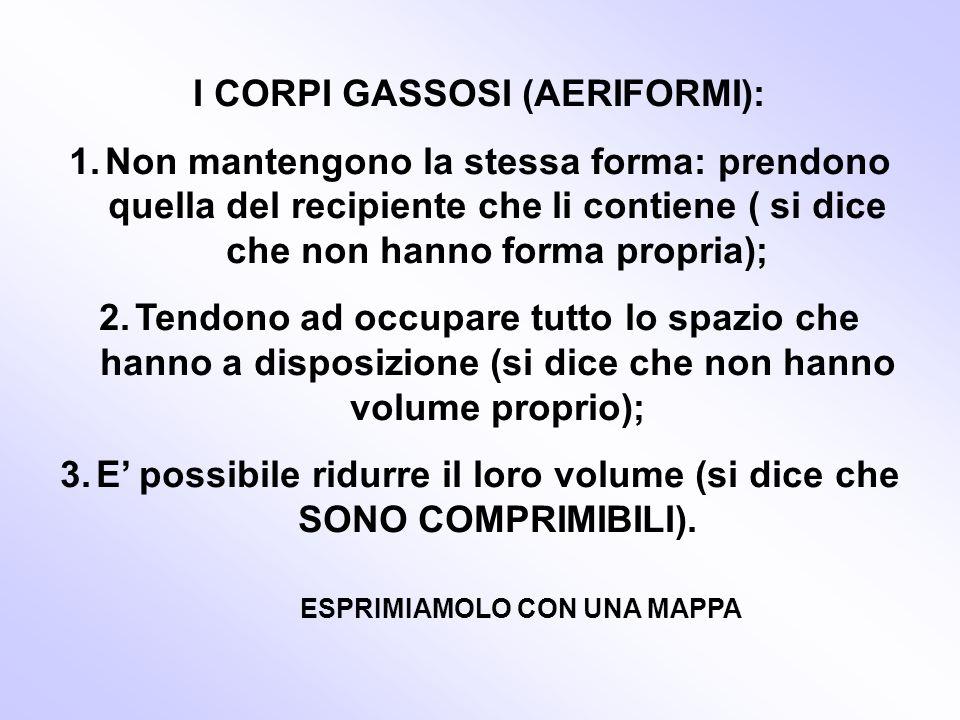 I CORPI GASSOSI (AERIFORMI):