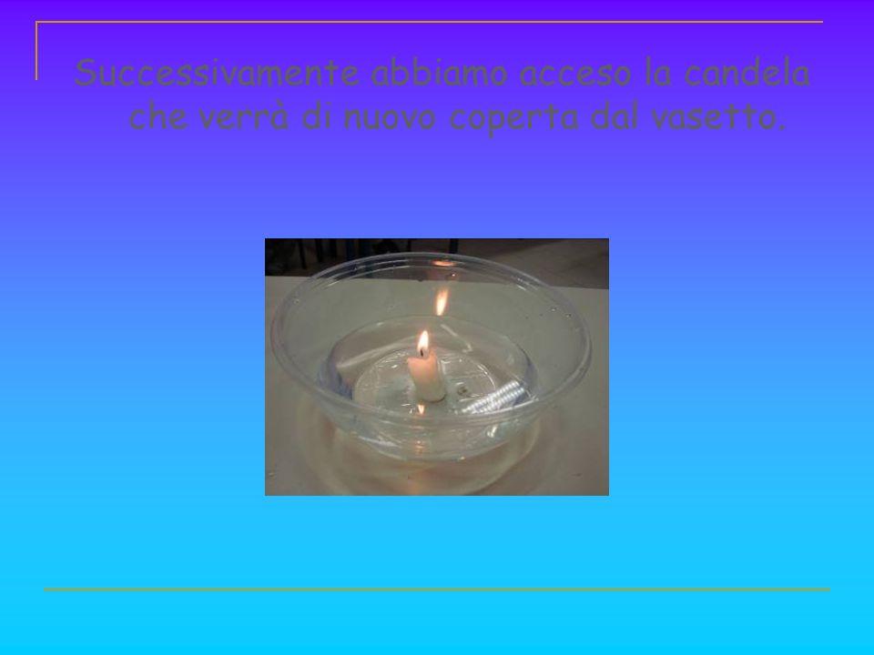 Successivamente abbiamo acceso la candela che verrà di nuovo coperta dal vasetto.