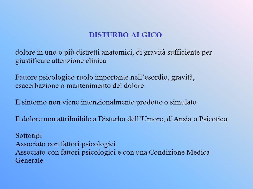 DISTURBO ALGICO dolore in uno o più distretti anatomici, di gravità sufficiente per. giustificare attenzione clinica.