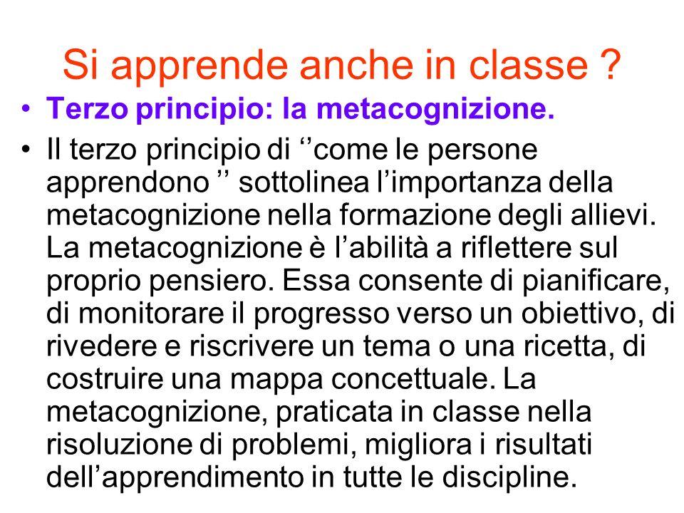 Si apprende anche in classe